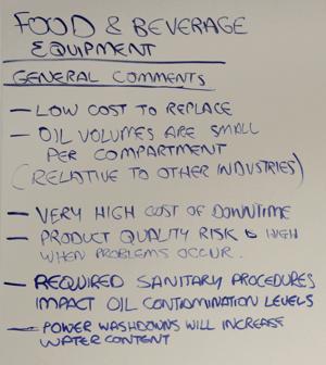 F&B comments-equipment